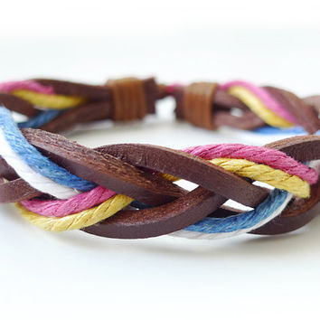 Brown Leather Multicolor Rope  Braided Bracelet