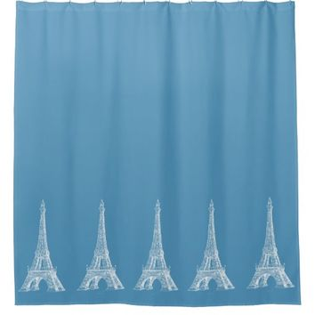 Paris Eiffel Tower Blue Shower Curtain