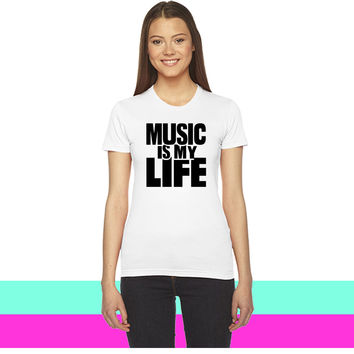 Music is my life1_ women T-shirt