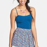 Socialite Floral Print Crochet Trim Skirt (Juniors)