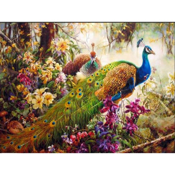 Peacock DIY Painting By Numbers animal Frameless Acrylic Paint On Canvas Artwork
