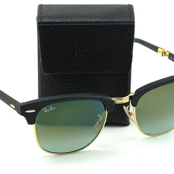 Ray-Ban RB2176 Folding Clubmaster Flash Gradient Unisex Sunglasses (Matte Black Frame/Green Mirror Gradient Lens 901S9J, 51)