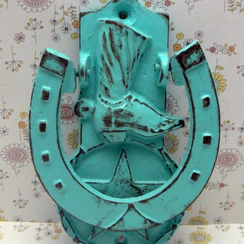 Cowboy Boot Horseshoe Western Country Star Door Knocker Decor Turquoise Aqua Distressed Horse Shoe Knock Greeting Guests House Warming Gift