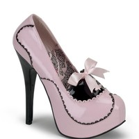 Bordello Pink and Black Patent Bow Tie Slip On Stilettos