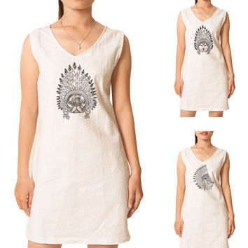 Women Animals wear headdress Printed Vintage Linen Mini Shift Dress WDS_02
