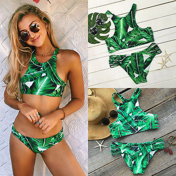 High neck green leaves Bikini Set 2017 Push-up Padded Bra Bandage Swimsuit Swimwear Bathing Suit