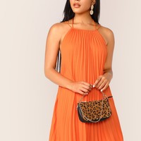 Neon Orange Crisscross Backless Pleated Halter Dress