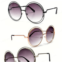 Oversized Round Boho Chic Metal Wire Frame Fashion Sunglasses