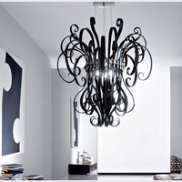 Black Murano glass chandelier handcrafted modern and classic