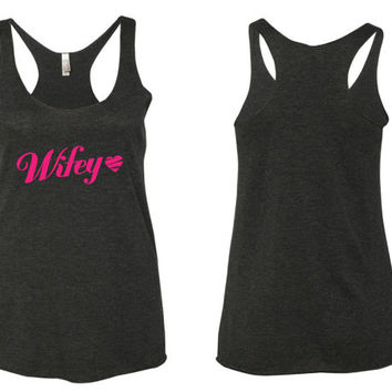 wifey tank // wedding tank // bride tank // wife tank // custom tank // tank top // flowy tank top // yoga tank top // workout tank top