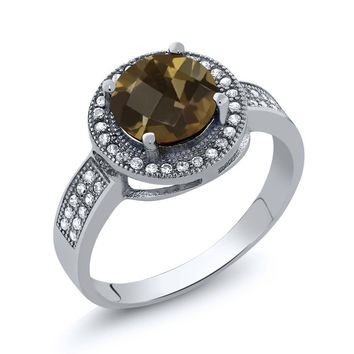 2.40 Ct Round Checkerboard Brown Smoky Quartz 925 Sterling Silver Ring