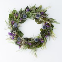 Dried Grevillea and Globe Thistle Wreath
