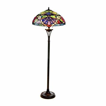 "Hannah, Tiffany-Style 2 Light Baroque/Roses Floor Lamp 18"" Shade"