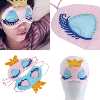 New Drop ShippingPrincess Crown Fantasy Eyes Cover Travel Sleeping Blindfold Shade Eye Mask Top Quality