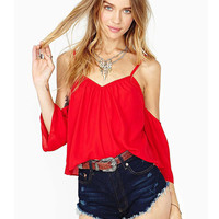 Red Off Shoulder V-Neck Chiffon Cropped Top