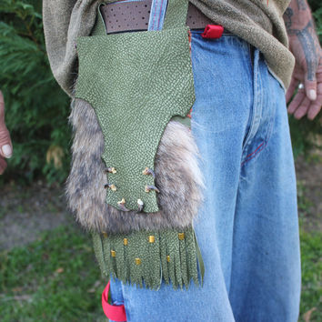 Coyote Fur Belt Bag, Green Goat Leather, Coyote Claws, Brass Beads, Fringed Utility Medicine Bag Pouch, Shamanic Tool Bag