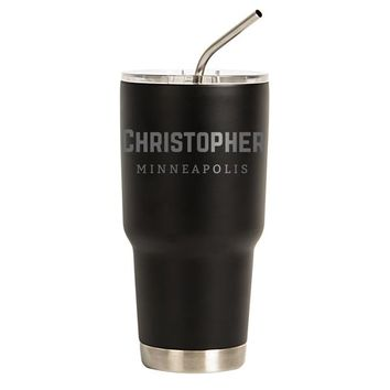 Personalized 30 oz. Black Stainless Steel Double-Walled Tumbler