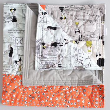 Zombie baby quilt, Modern baby quilt, Baby quilt, Handmade quilt, Modern fabric, Riley Blake, Zombie Apocalypse