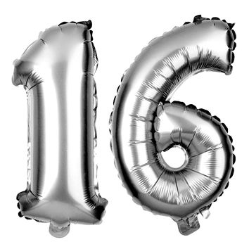 Number 16 Balloons 40 Inch - Silver