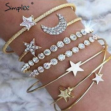 Simplee Fashion bangle bracelet jewelry accessories women Trendy multilayer metal bangle Party streetwear chic fine jewelry 2018