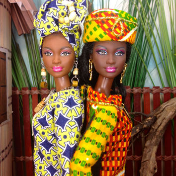 Barbie Doll Dress - African Inspired Kente Print Dress with Hat, Purse, and Shoes