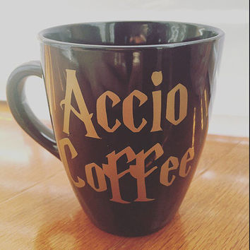 Harry Potter Theme, Accio Coffee, Gold, Coffee Mug