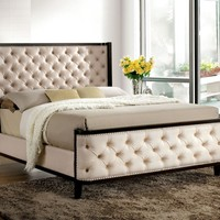 Truvie Contemporary Button Tufted Fabric Queen Bed in Espresso
