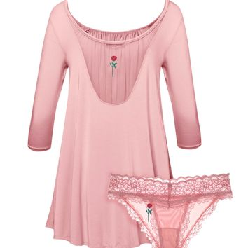 Floral Embroidery Tent Dress & Panty 2-Pack Set in Rose Quartz