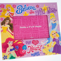 Disney Parks Princess Believe in Every Wish Picture Photo Frame 4x6 New