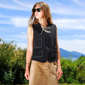 Vintage 80's Unisex Woolrich Vest, Wool Charcoal Black + Grey Pinstripe Vest, Size 40 Large, Western Style Hipster Shirt, Outdoors Camping