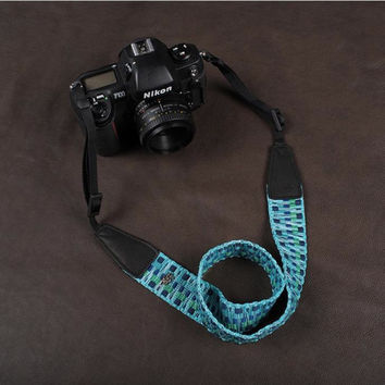 Blue Strap Sony Handmade Leather Camera Strap Bohemia Style Holiday 8297