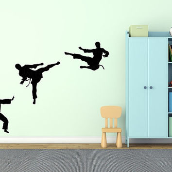 Martial Arts Karate kick punch vinyl wall decal, large 3 pack flying kick stickers, high kick taekwondo decal, karate silhouette wall decor