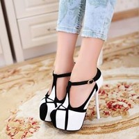 Womens Fashion T-Strap Platform Mary Jane High Heel Pump Court Shoes 2016 hot