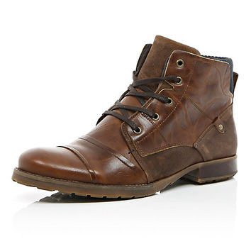 River Island MensDark brown leather contrast military boots