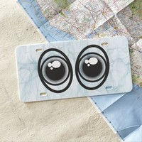 Cartoon Funny Eyes in Smokey Background Texture License Plate