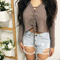 Lauren Lace Up Cropped Sweater (MOCHA)