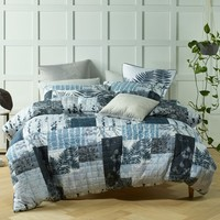 Botanic Grey Lightly Quilted Quilt Cover Set OR Accessories by Bianca
