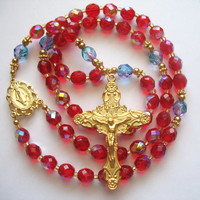 Red Bead Rosary, Catholic Rosary, Red Prayer Beads, Red Czech Beads, Miraculous Medal, Mysteries