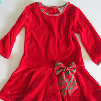 Vintage Baby Girl Red Velvet Christmas Bow Party Dress