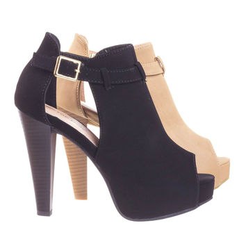 Table45 Black By Top Moda, Stacked Block Heel Ankle Boots w Peep Toe, Side Cutout & Hidden Platform