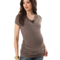 A Pea in the Pod Collection: Short Sleeve Cowl Neck Side Ruched Maternity T Shirt