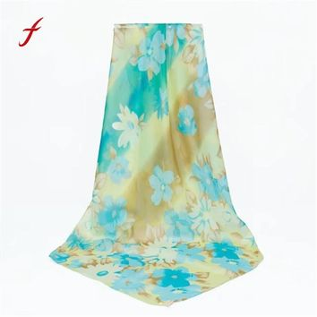 Feitong Quality Keep Warm Fashion Winter Shawl Chiffon Scarf Lady Print Long Wrap Women's Poncho Silk Scarves Female Bandana