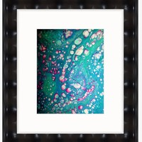 Fluid Art Print-Teal & Pink - Fine Art Print (8X10) with White Mat (11 X14)- Fluid Abstract Art ,On Sale