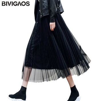 BIVIGAOS Summer Women Tulle Skirt Pleated Skirt Black High Waist Midi Skirts Thin Chiffon Mesh Yarn loose Long Skirts Women