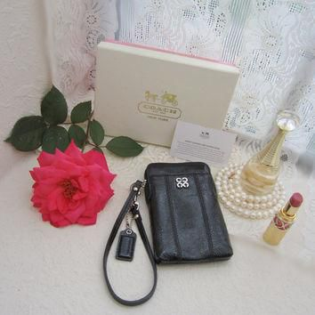 vintage purse, coach purse, black purse, cell phone bag, leather pouch, patent leather