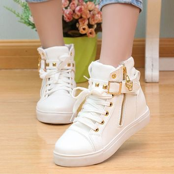 Canvas shoes 2017 women shoes fashion zipper wedge High help solid color white shoes w