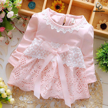 Baptism Summer Fashion Four Leave Grass Lace Children Baby Girls Short-sleeved Dress Dresses