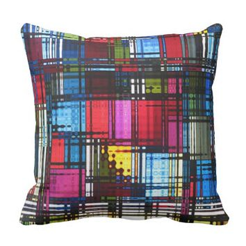 Colorful Abstract Pattern Throw Pillow