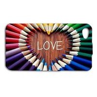 Pretty Colored Pencils Love Heart Cute Case iPhone Plus Cover Cool Rainbow Color