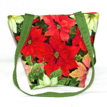 Poinsettia Purse, Small Tote Bag, Christmas Flower, Red, Holiday Handbag, Fabric Bag, Cloth Purse, Shoulder Bag